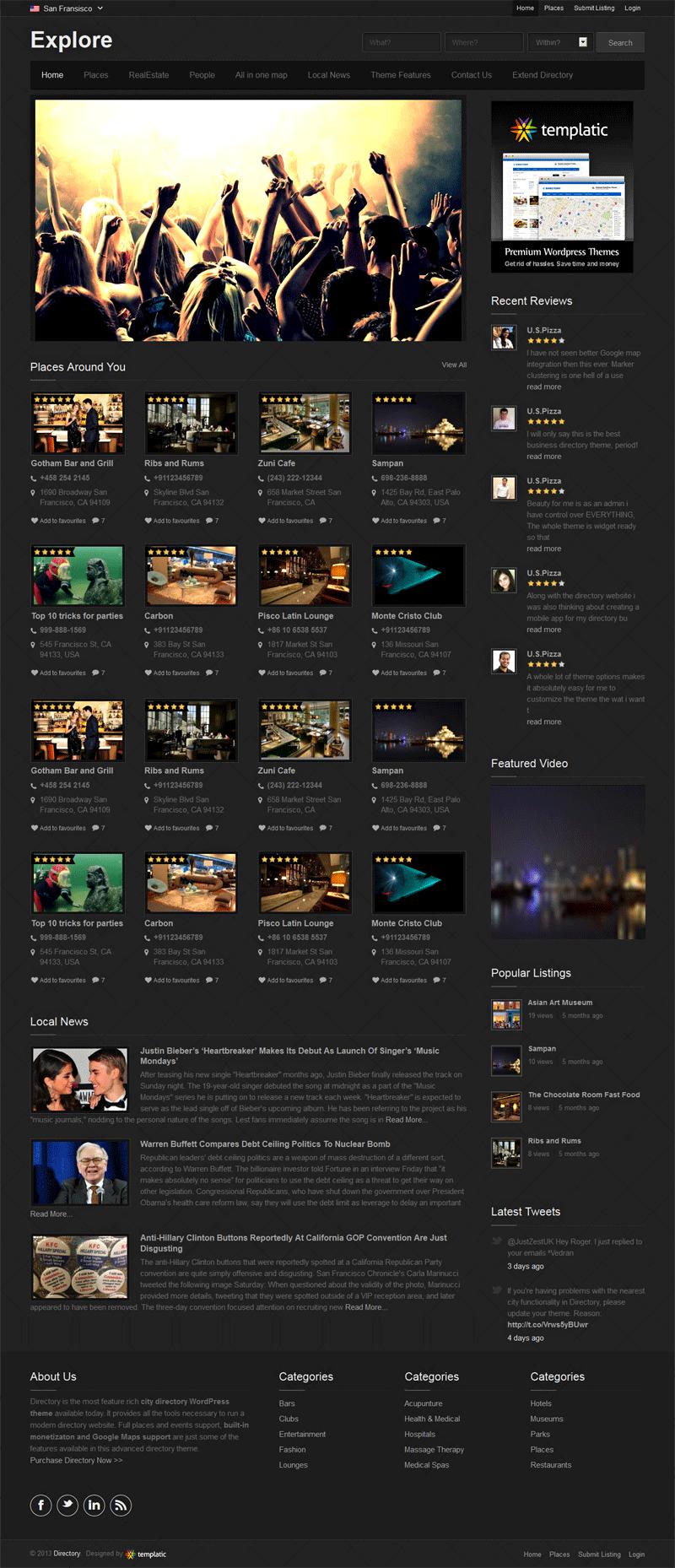 Explore WordPress Responsive Directory Theme