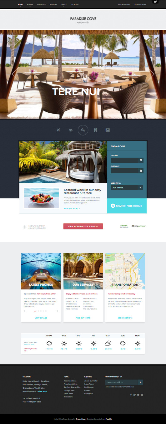 Paradise Cove Online Hotel Businesses Theme