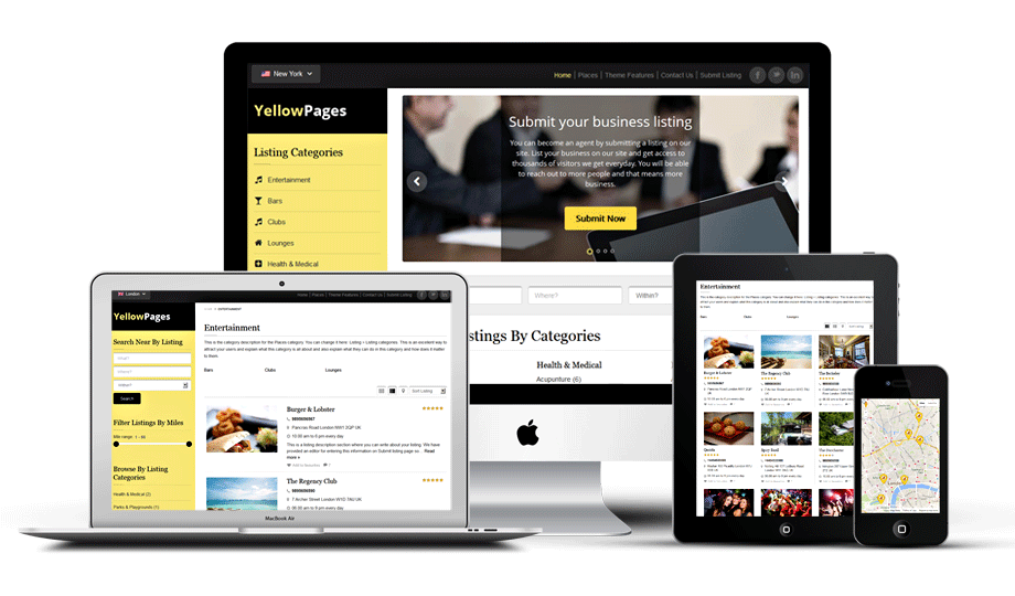 Responsive WordPress Yellow Pages Directory Theme