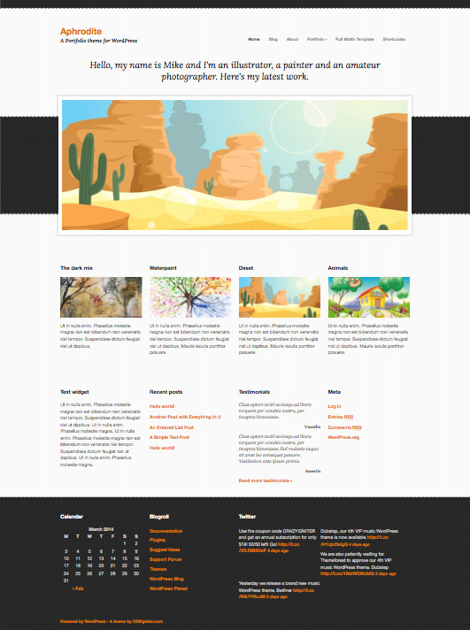 Aphrodite WordPress Photographer Portfolio Theme