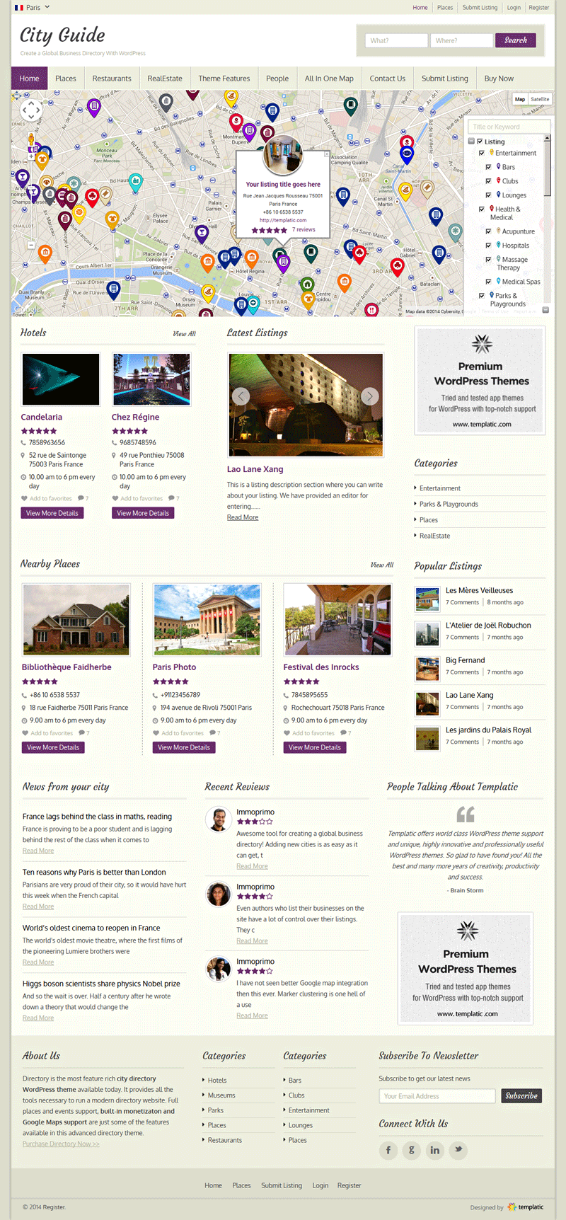 City Guide WordPress Listing Directory Theme