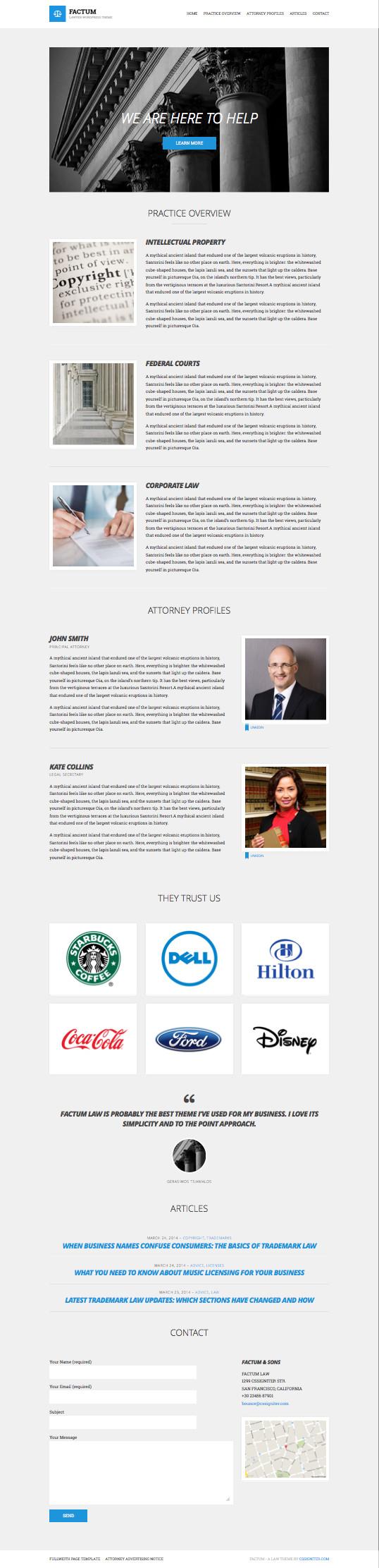 Factum WordPress Law Firms Business Theme