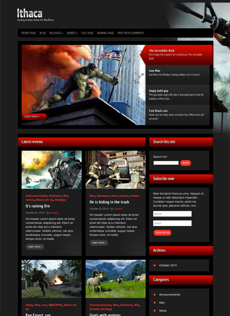 Ithaca WordPress Gaming Ratings Theme