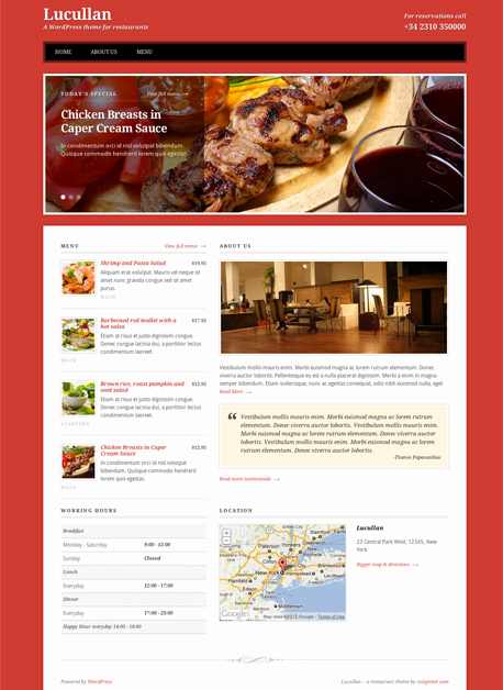 Lucullan WordPress Restaurants & Bars Theme