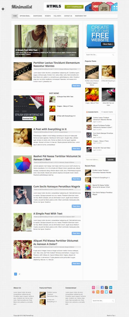Minimalist WordPress Minimal Blog Theme