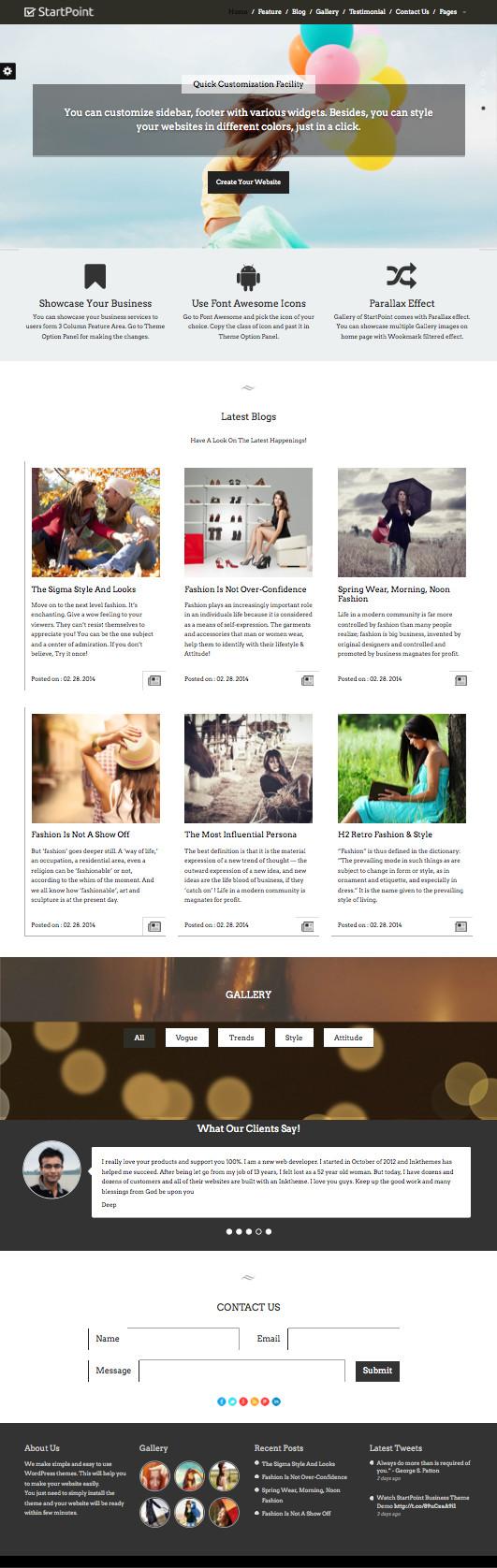 StartPoint WordPress One Page Business Theme