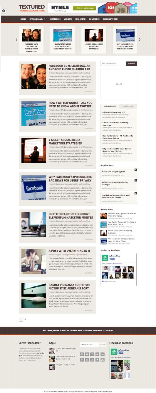 Textured Multipurpose WordPress Fluid Grid Theme