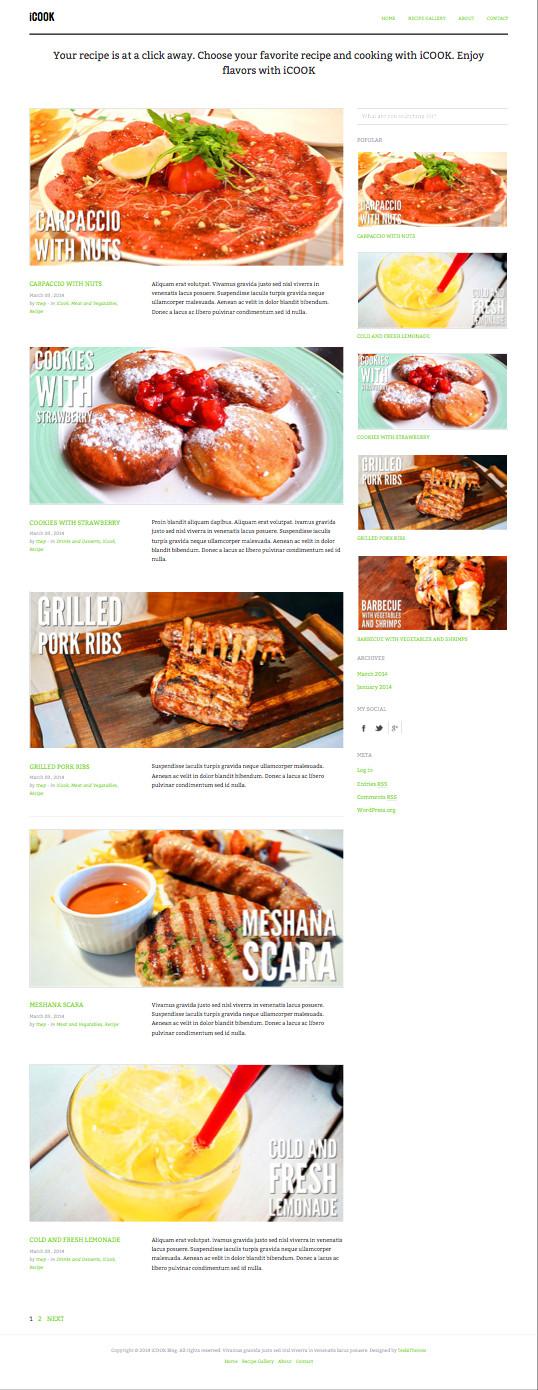 iCook WordPress Food Cooking Theme