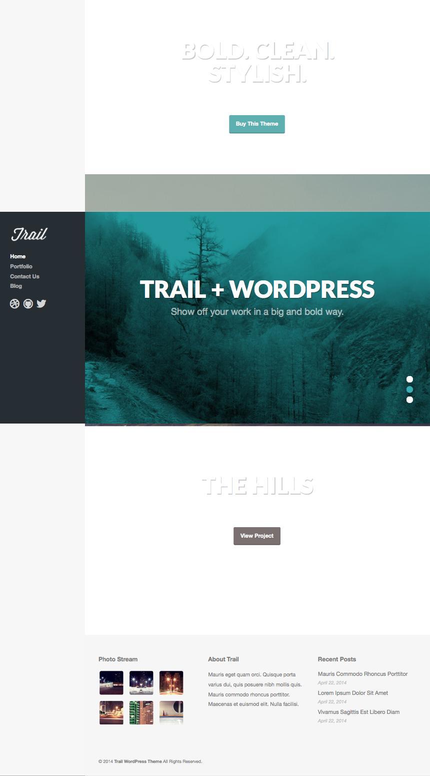 Trail WordPress Full Screen Parallax Scrolling Theme