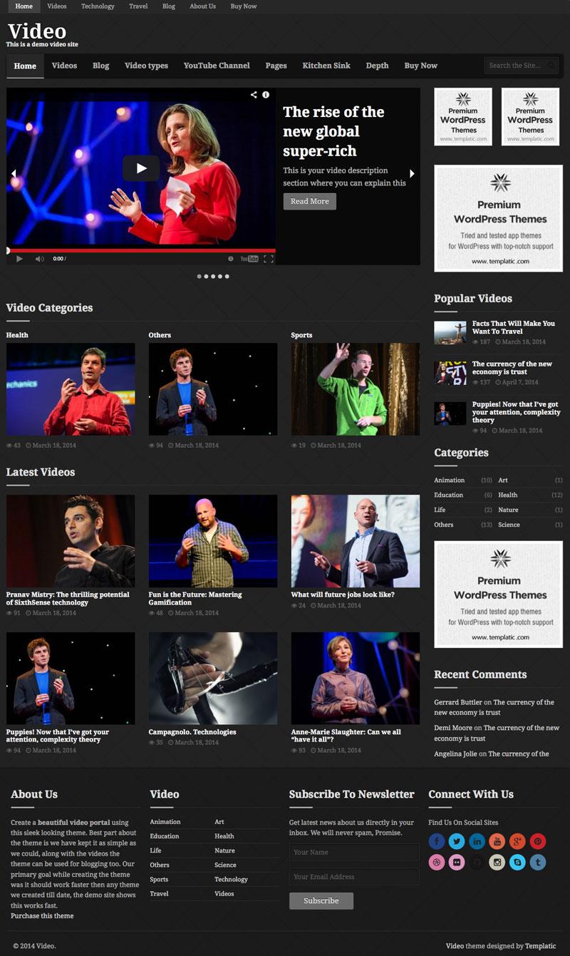 Video WordPress YouTube Theme