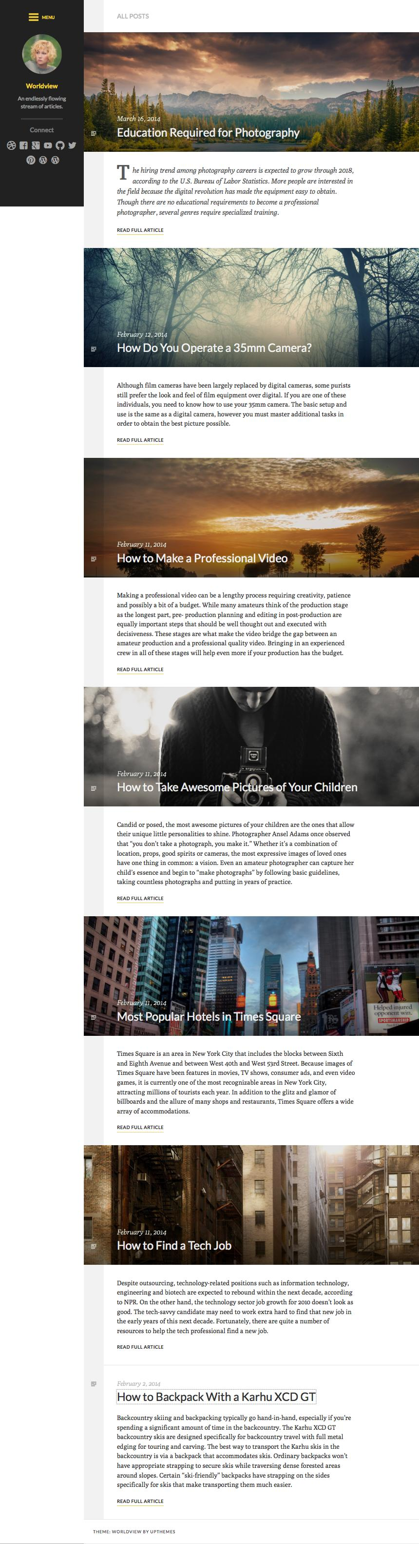 Worldview Responsive Bold Personal Blogging Theme