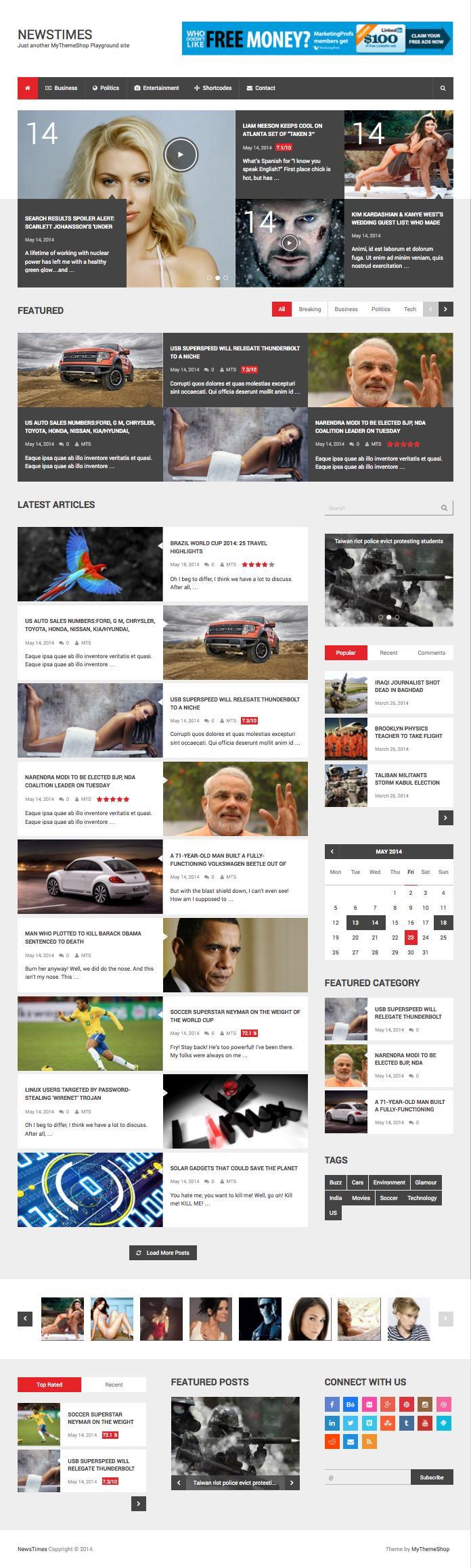 NewsTimes WordPress Magazine Style Theme