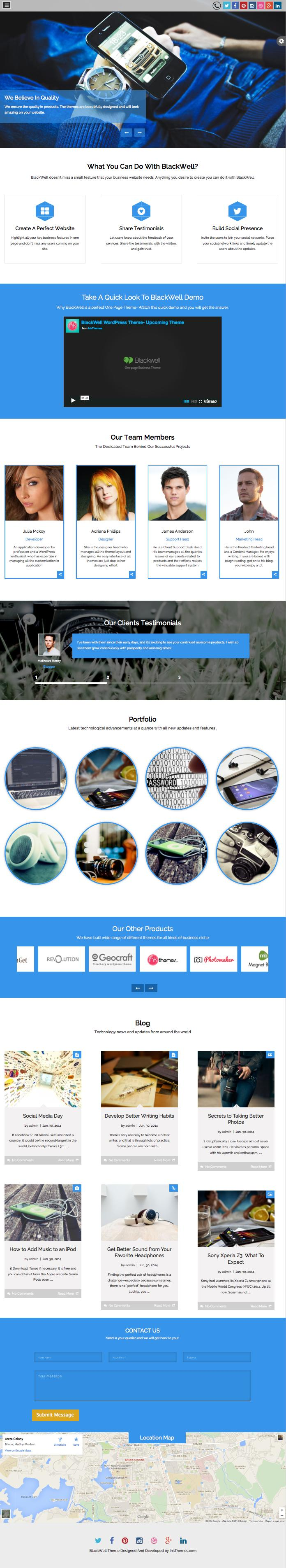 BlackWell WordPress One Page Theme