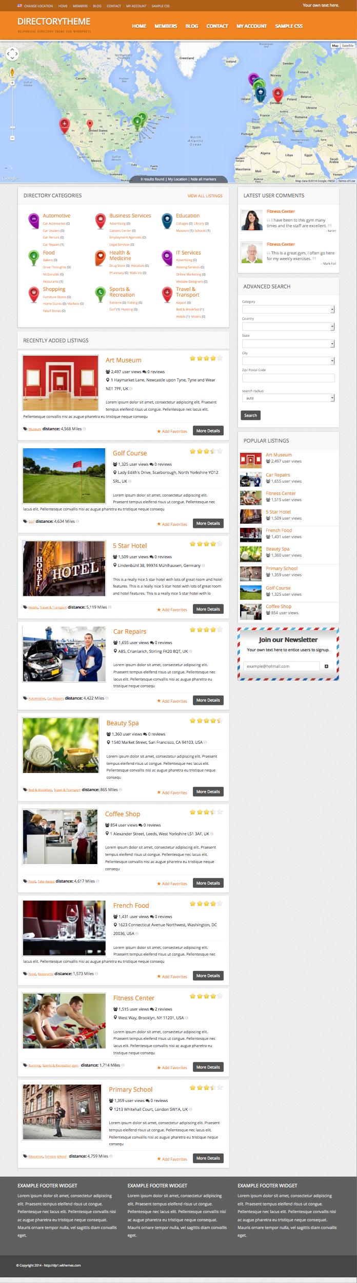 Directory WordPress Business Listings Theme