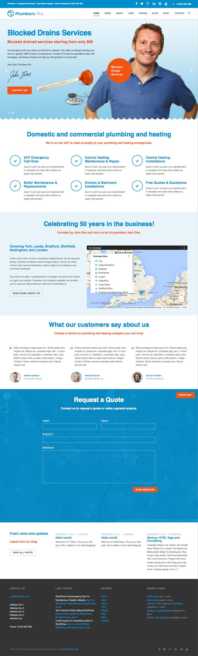 Plumbers Pro WordPress Plumbing Heating Theme