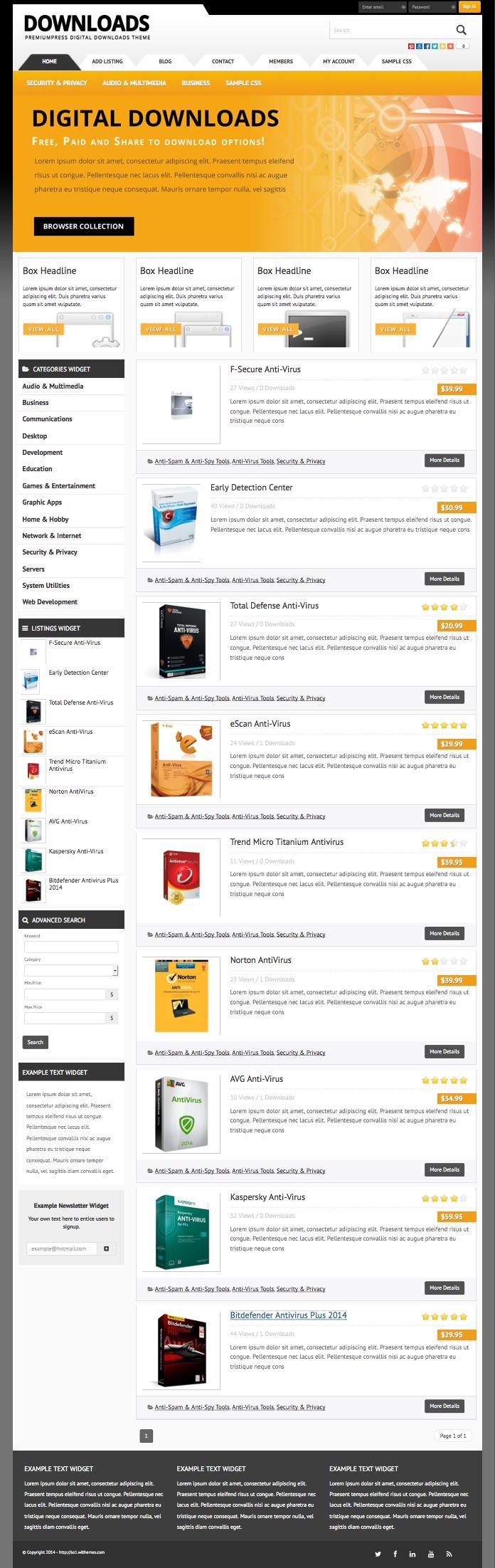 Responsive WordPress Digital Goods Download Theme
