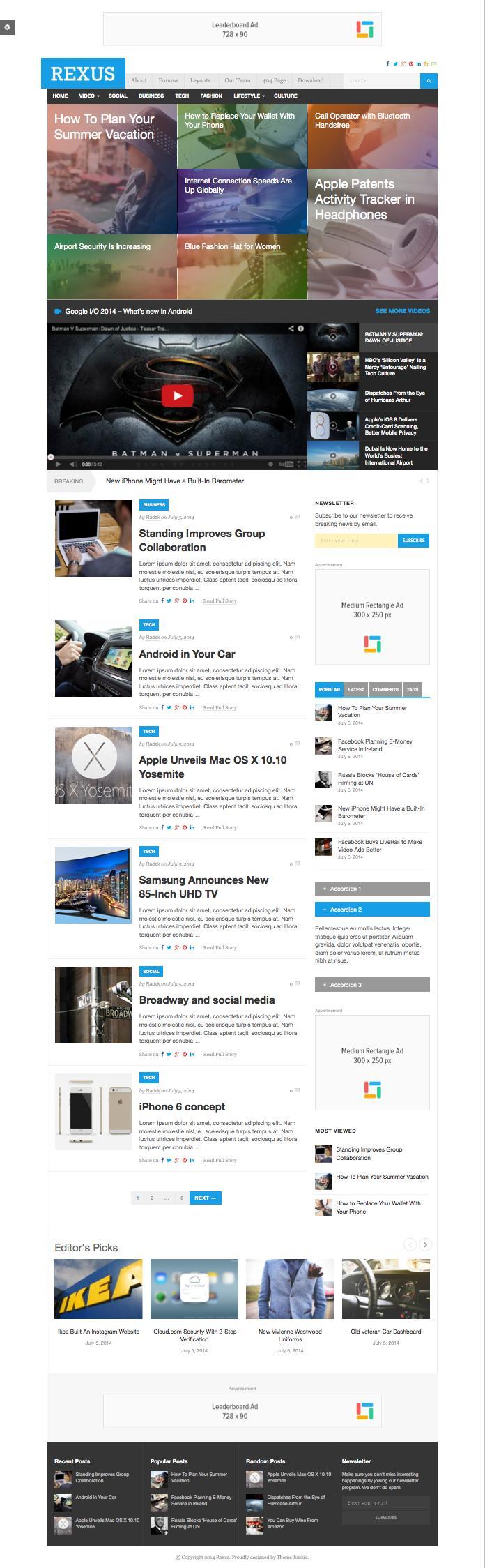 Rexus WordPress Minimal Magazine Theme