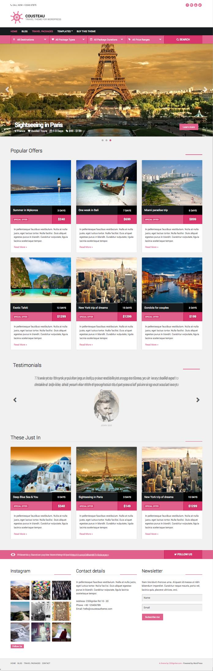 Cousteau WordPress Travel Package Theme