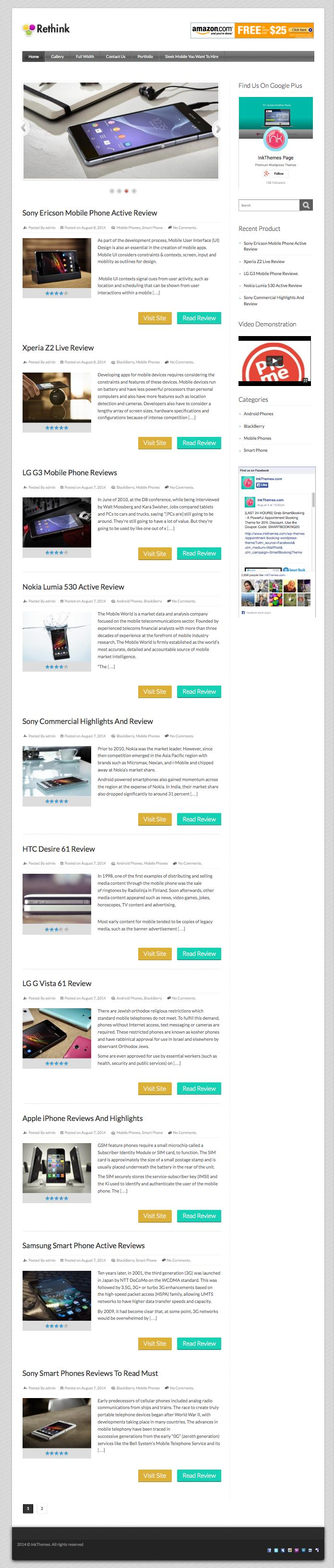 Rethink WordPress Mobile Review & Ratings Theme