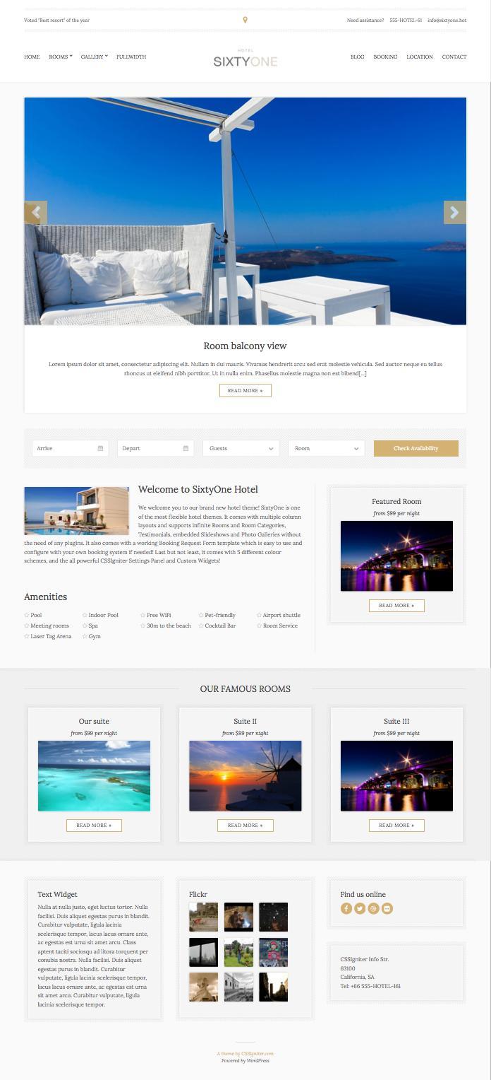 SixtyOne WordPress Restaurants Business Theme