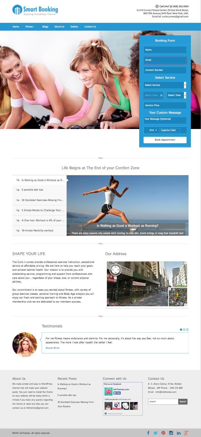 SmartBooking WordPress Gym Fitness Studio Theme