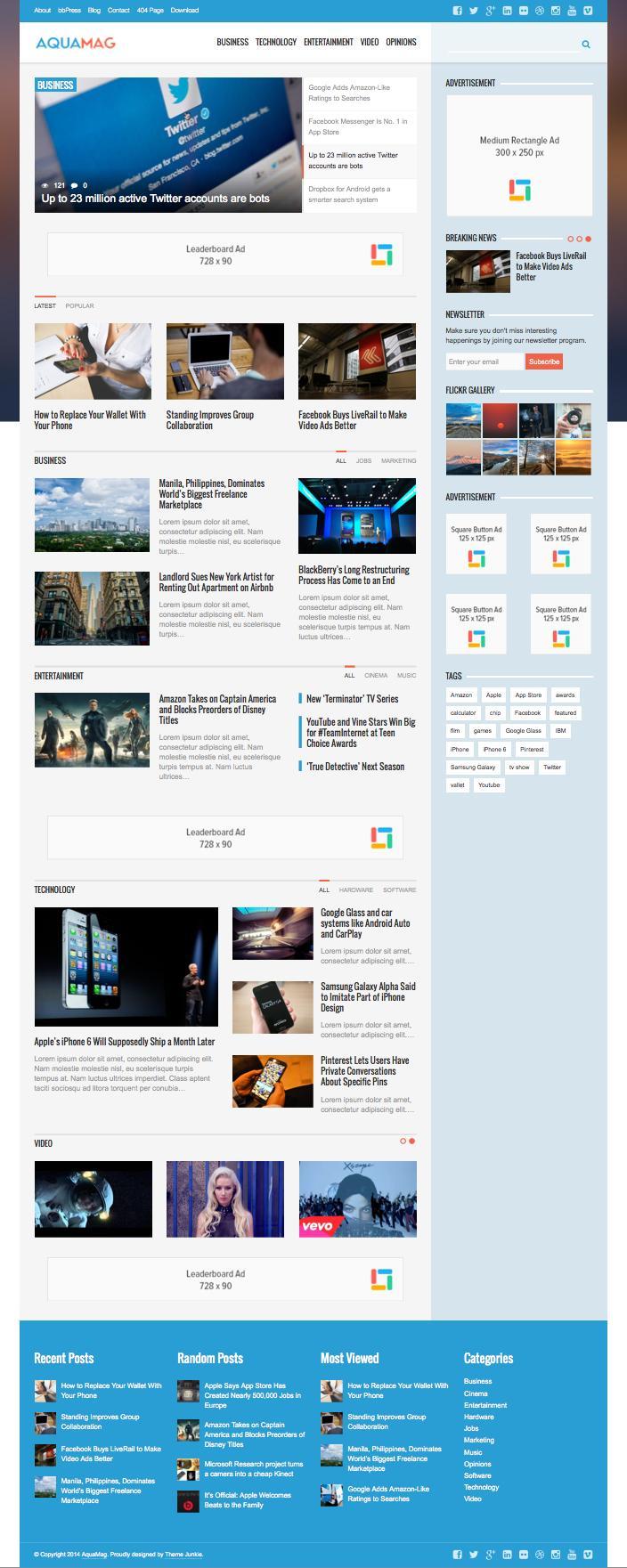 AquaMag WordPress Modern Magazine Theme
