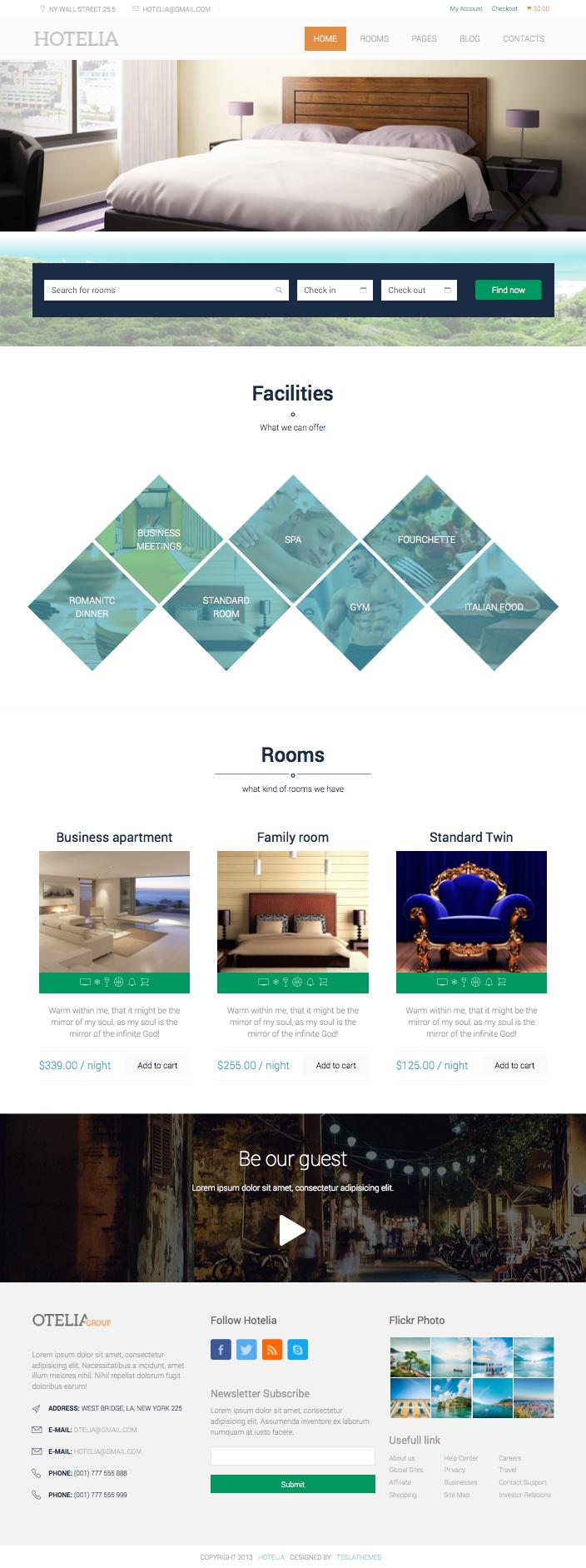 Hotelia WordPress Hotel Booking Theme