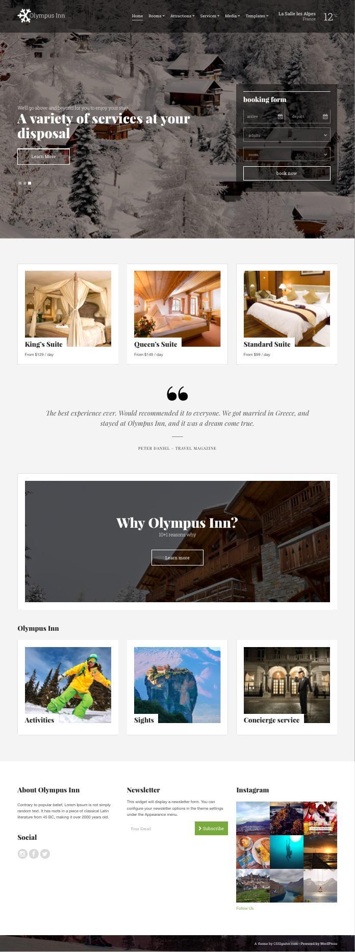 Olympus Inn WordPress Resort Hotel Theme