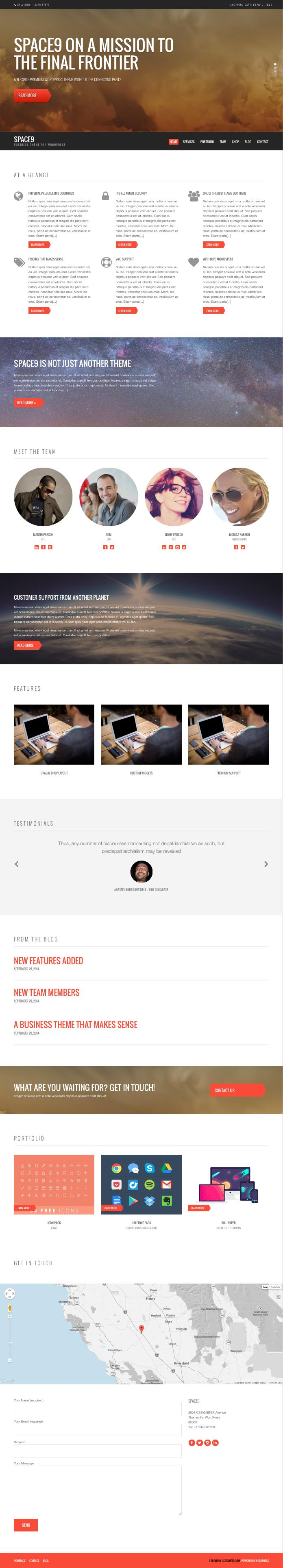 Space9 WordPress Next Generation Business Theme