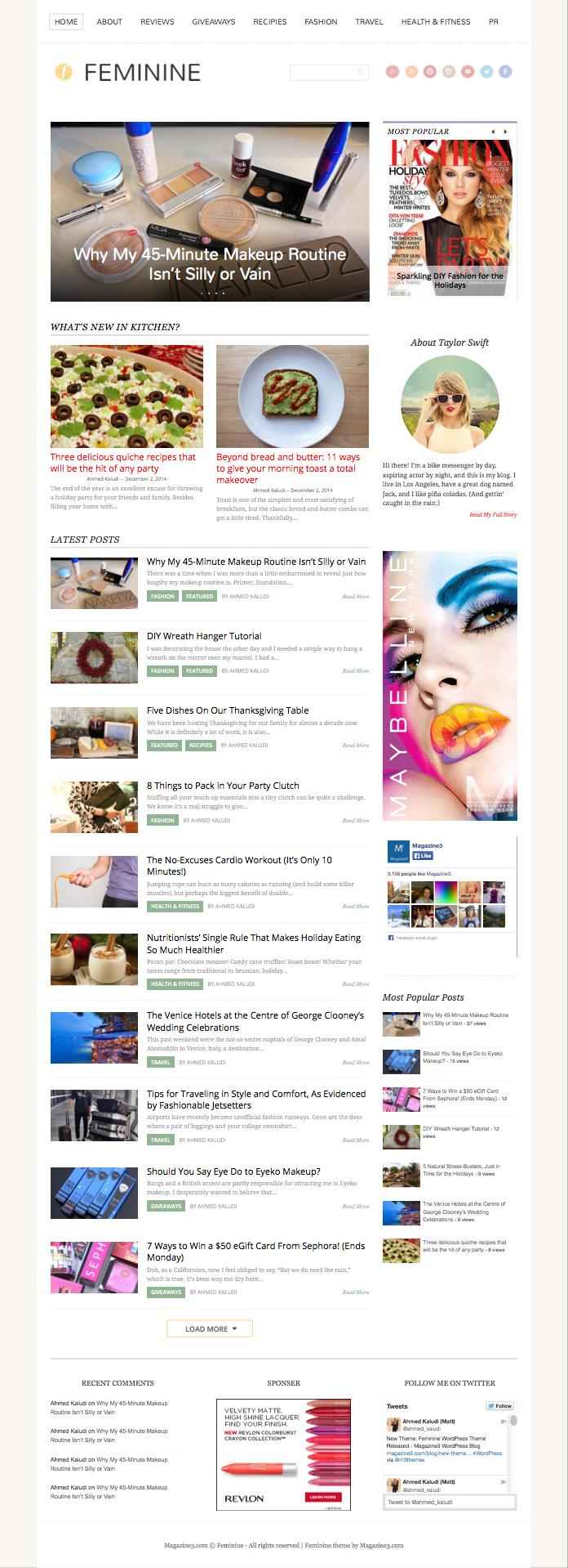 Feminine WordPress Female Magazine Theme