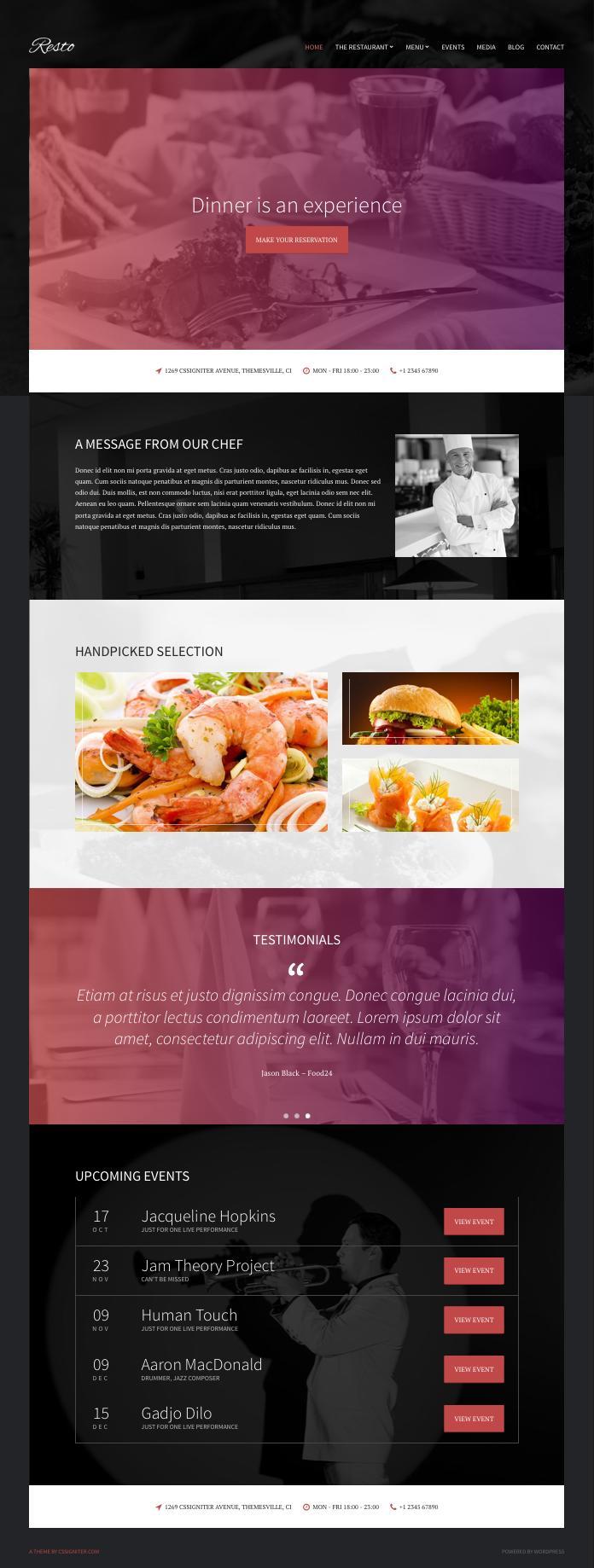 Resto WordPress Restaurant & Bar Theme
