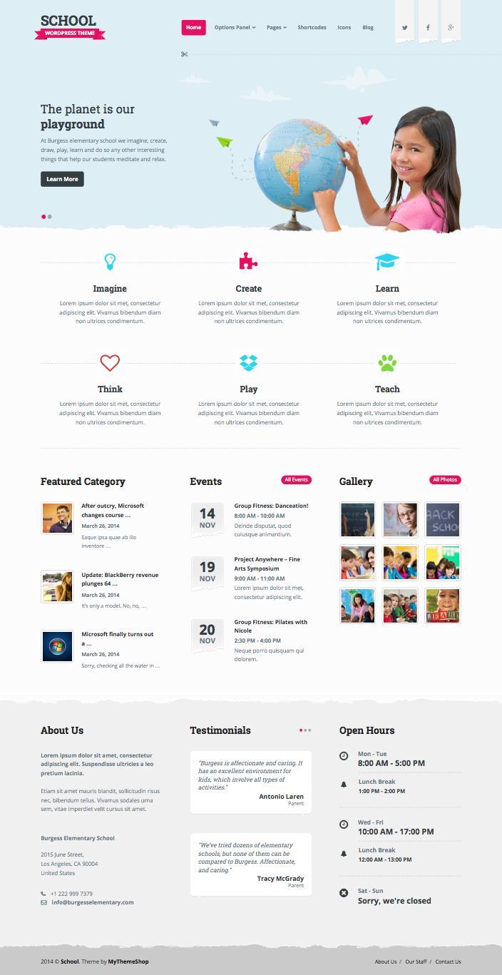 School WordPress Education Theme