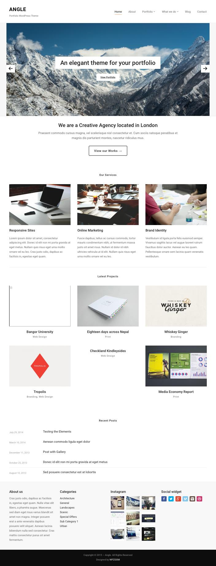 Angle WordPress Portfolio Module Theme