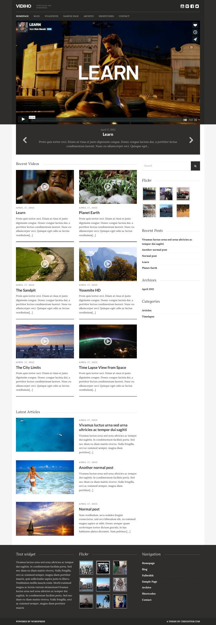 Vidiho Theme for Video Blogging & High Definition slider