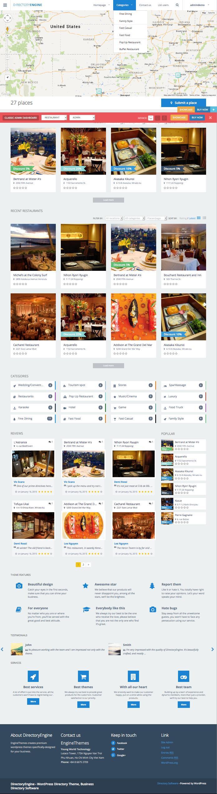 DirectoryEngine WordPress City Places Listing Theme