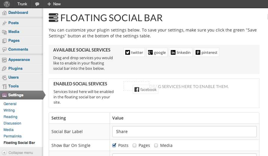 Floating Social Bar WP Plugin