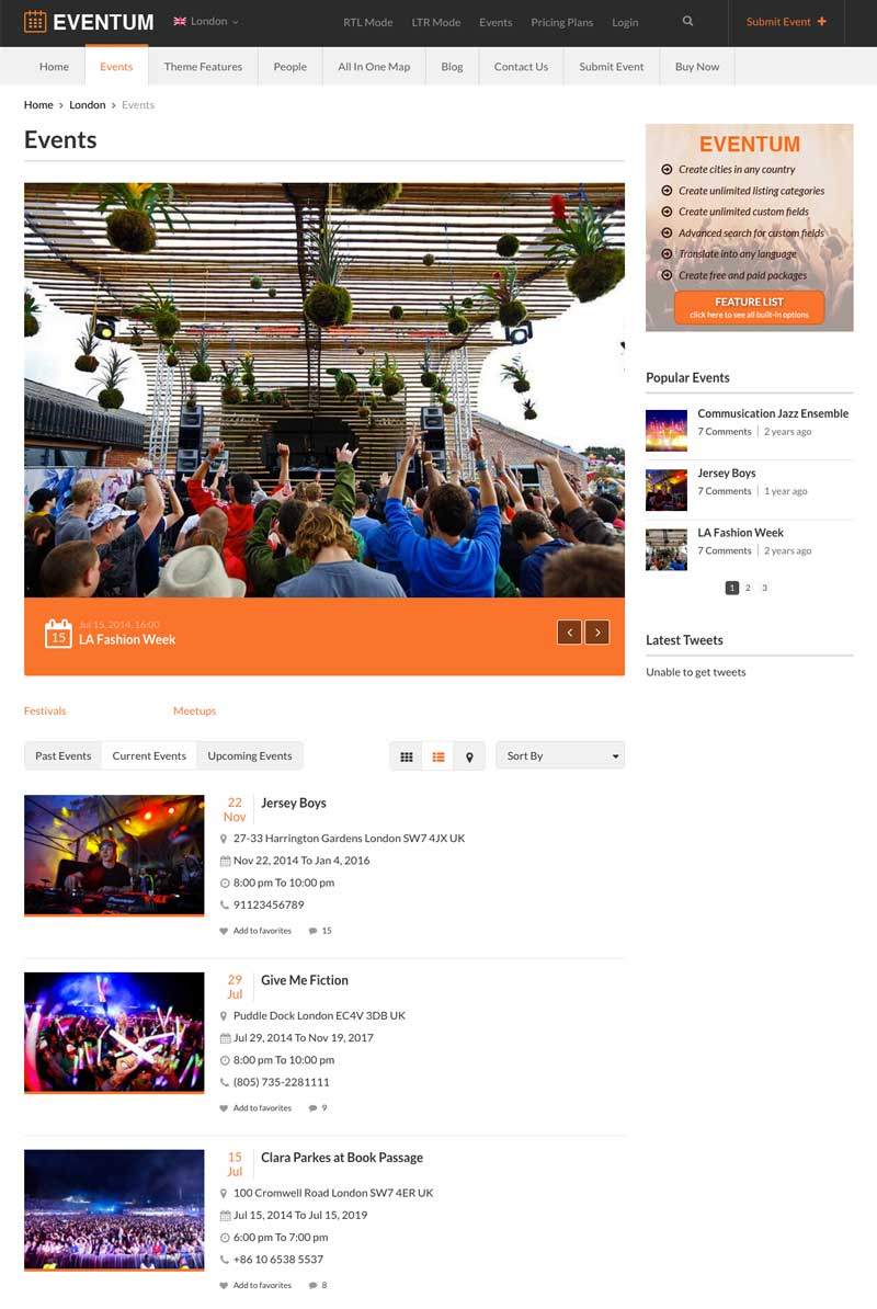 Displaying Events on Eventum WordPress Theme