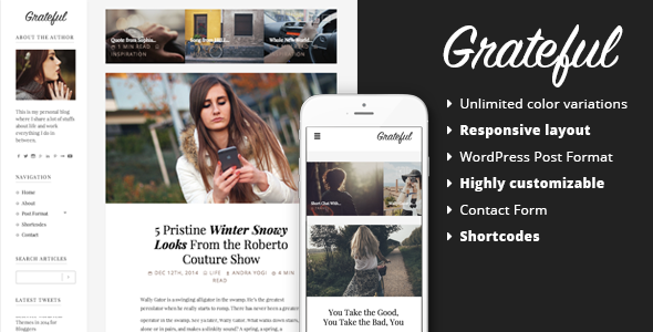 Grateful Personal Blog WordPress Theme