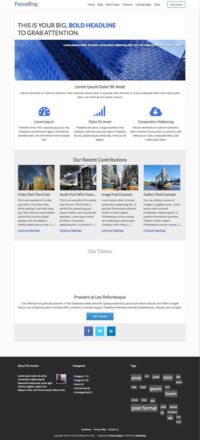 FocusBlog WordPress Business Blog Theme