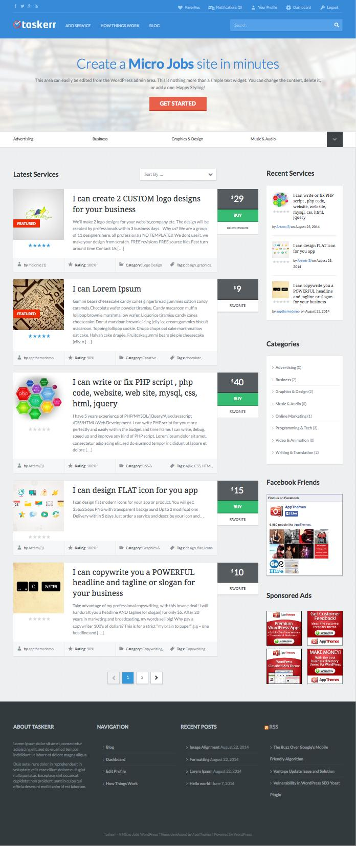 Taskerr WordPress Theme like Fiverr and PeoplePerHour