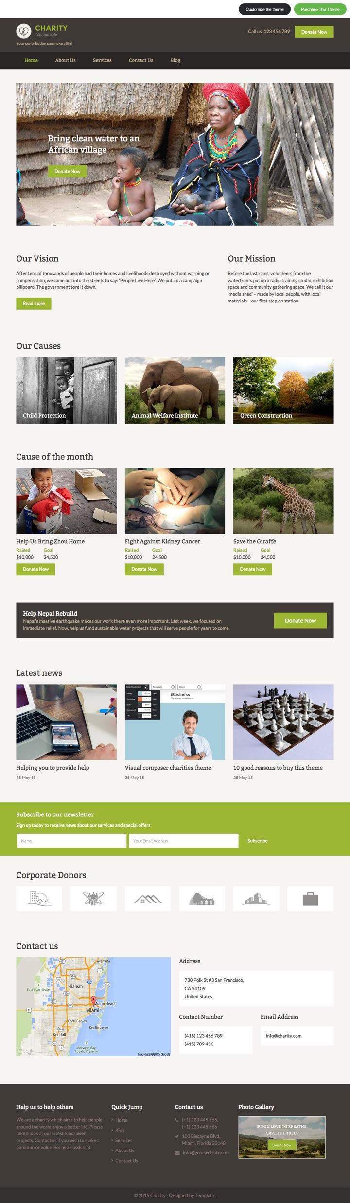 Charity WordPress Click & Edit Non-Profit Organization Theme