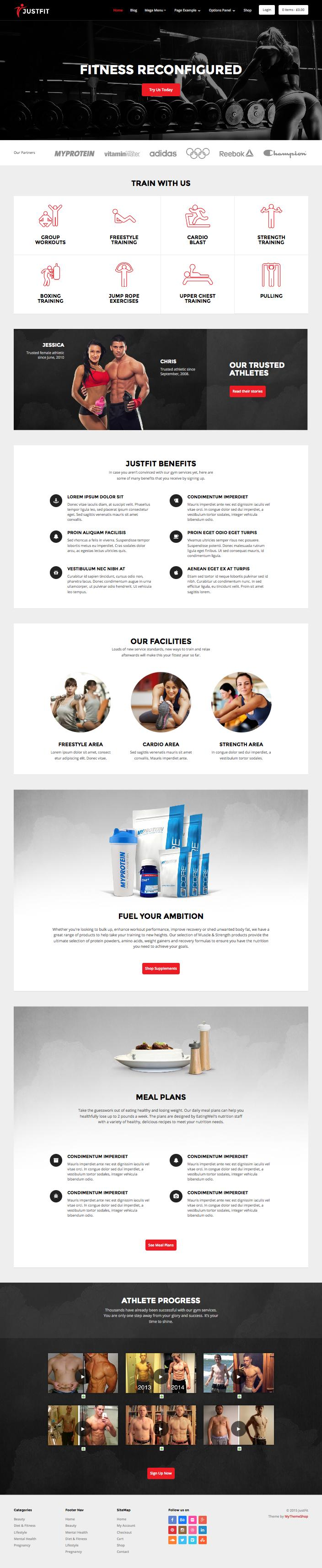 JustFit WordPress Fitness Community or Magazine Theme