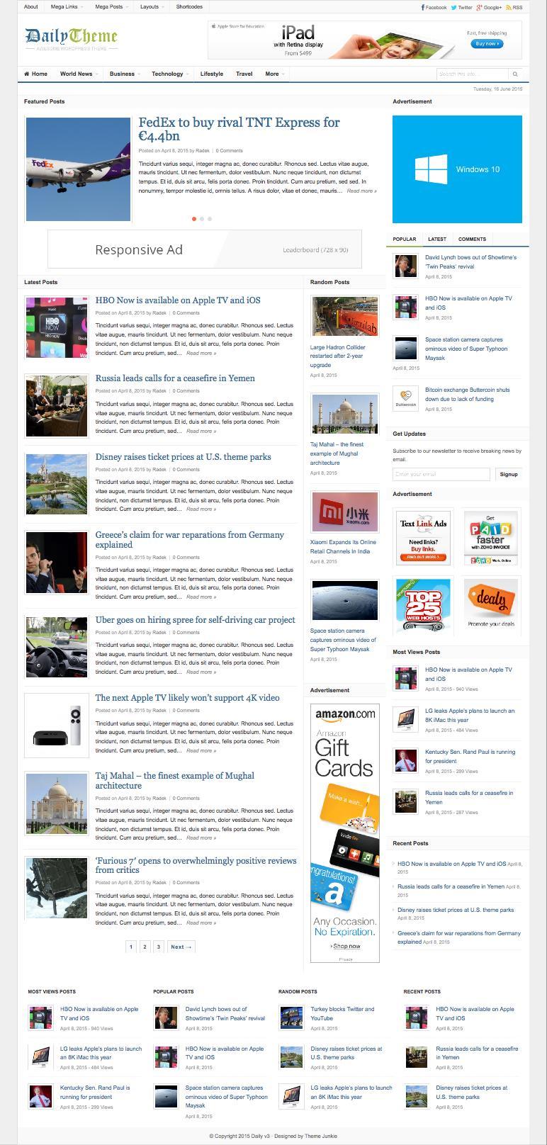 Daily 3.0 WordPress Newspapers Theme