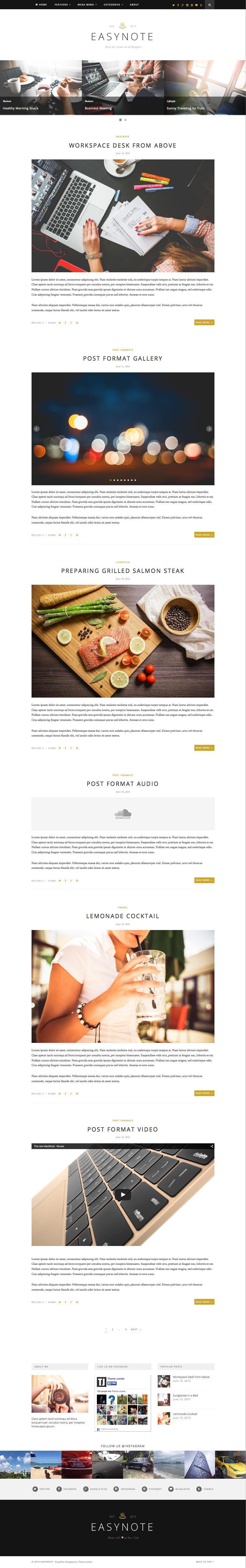 EasyNote SEO Ready WordPress News Blog Theme