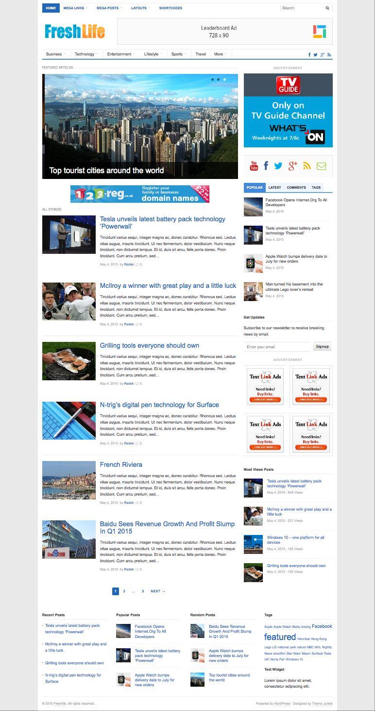 FreshLife 3.0 WordPress Newspaper Blog Theme