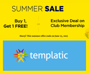 Buy 1 Get 1 FREE offer on Themes & Plugins from Templatic club