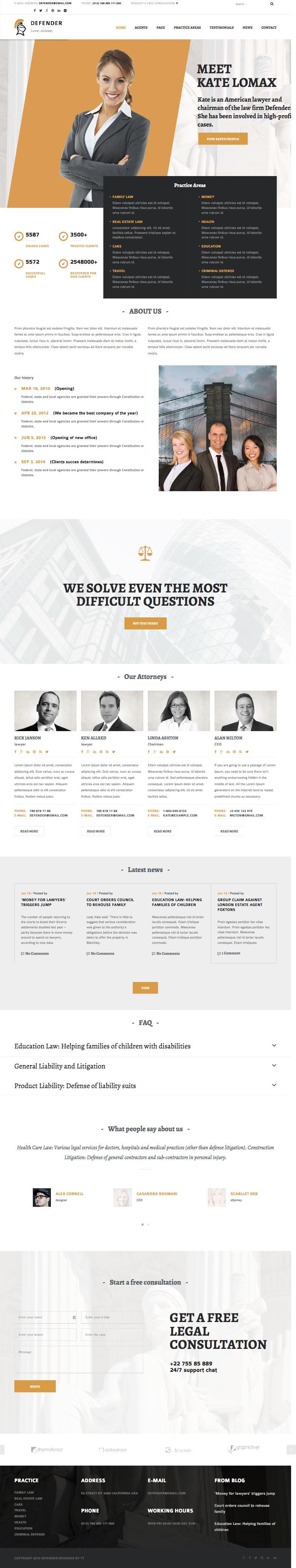 Defender WordPress Attorney & Lawyer Theme