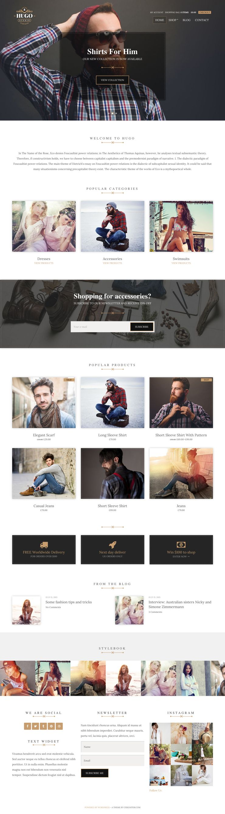 Hugo WordPress Online eCommerce Theme