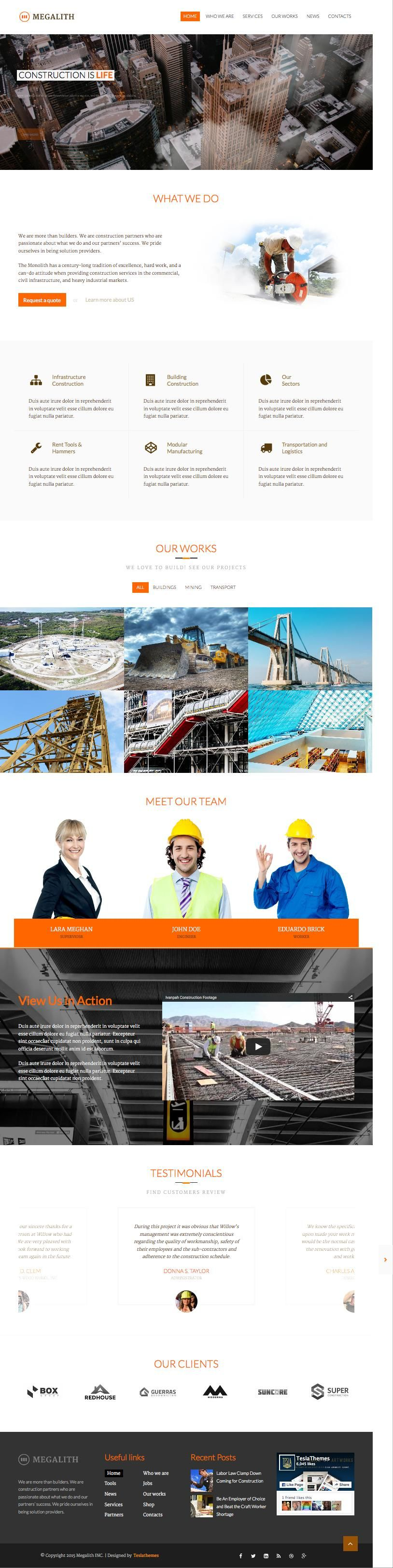Megalith WordPress Architecture & Civil Engineering Theme