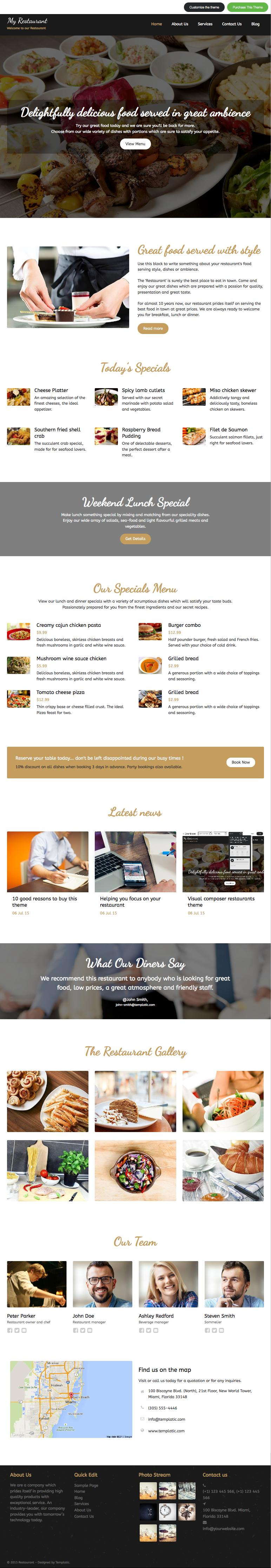 MyRestaurant WordPress Restaurants & Diner Owners Theme